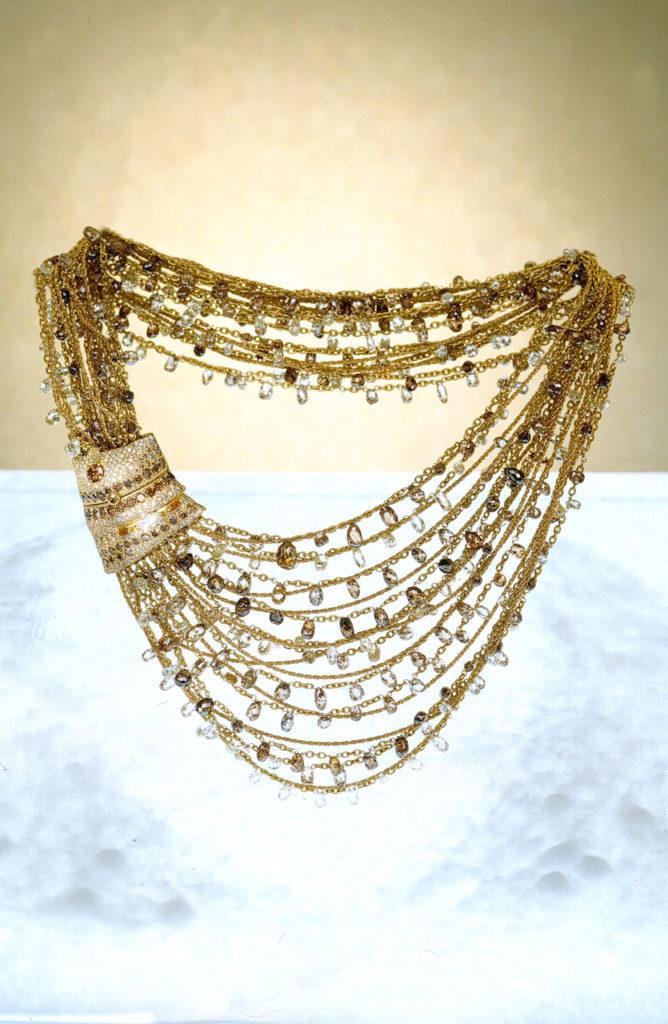 Alta gioielleria Made in Italy - collana fili - oro giallo - diamanti - pietre preziose
