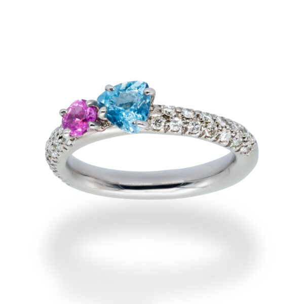 d'Avossa Ring in 18kt white gold with Blue Aquamarine, Pink Sapphire and White Diamonds