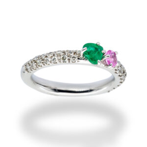 d'Avossa Ring in 18kt white gold with Emerald, Pink Sapphire and White Diamonds