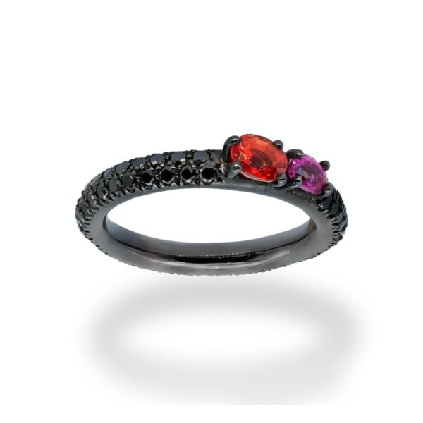 d'Avossa Ring in 18Kt black gold with a pavé of black diamonds, Oval Orange Sapphire and Purple Sapphire. (2)