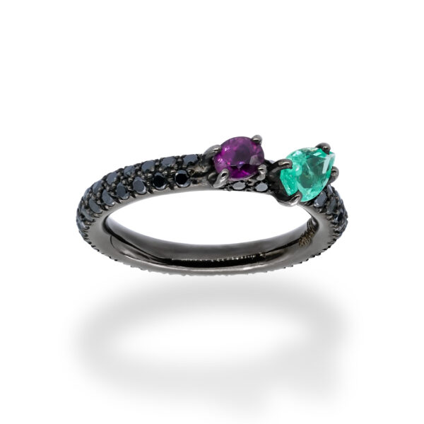 d'Avossa Ring in 18kt Black Gold with Emerald and Purple Sapphire on Black Diamonds Pavé (6)