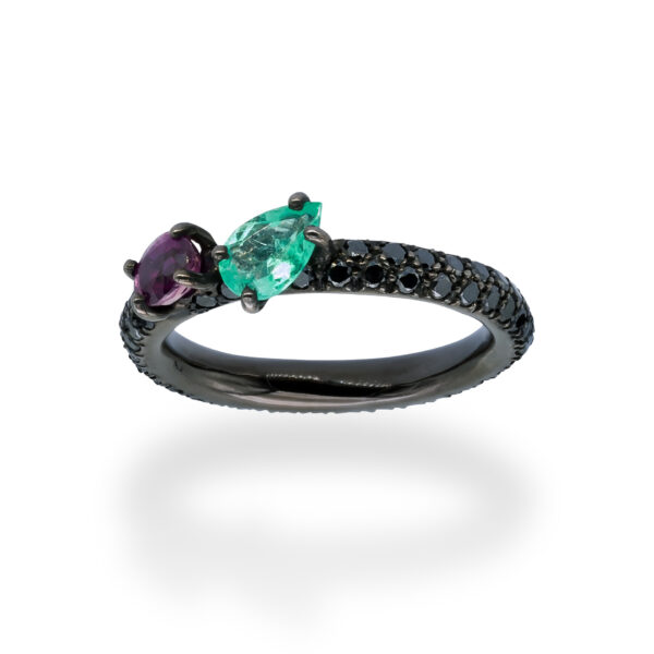 d'Avossa Ring in 18kt Black Gold with Emerald and Purple Sapphire on Black Diamonds Pavé (5)