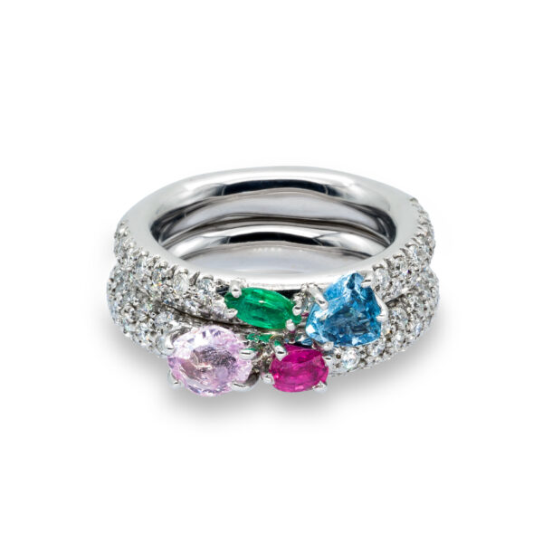 d'Avossa Rings in 18kt white gold with Blu and Pink Aquamarines, Emerald, Pink Sapphire and white Diamonds (1)