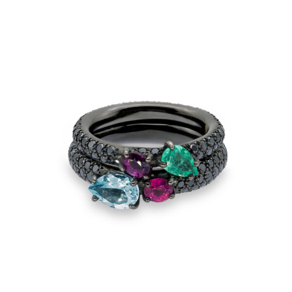 d'Avossa Ring in 18kt Black Gold with Emerald, Blue Aquamarine, Purple and Pink Sapphire on Black Diamonds Pavé (1)