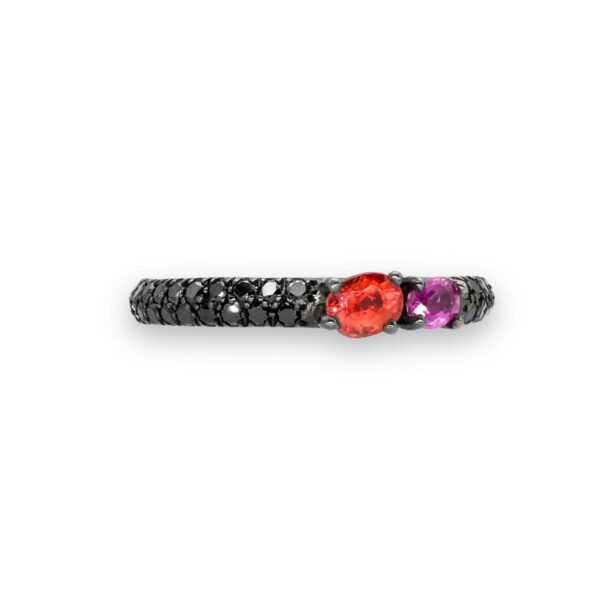 d'Avossa Ring in 18Kt black gold with a pavé of black diamonds, Oval Orange Sapphire and Purple Sapphire. (5)
