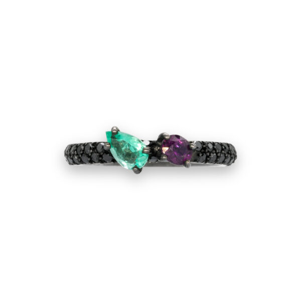 d'Avossa Ring in 18kt Black Gold with Emerald and Purple Sapphire on Black Diamonds Pavé (3)