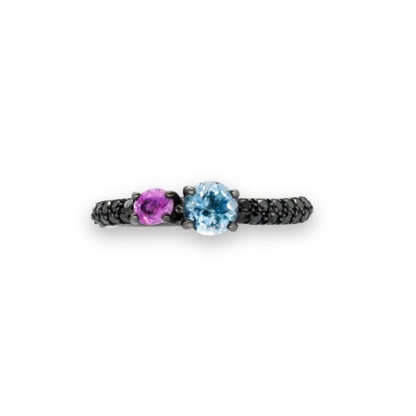 d'Avossa Ring in 18Kt black gold with pavé of black diamonds, central round-cut Blue Topaz and Purple Sapphire. (2)
