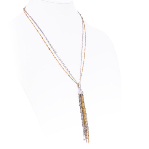 d'Avossa Necklace in White and Yellow Gold with Fringe and Diamonds
