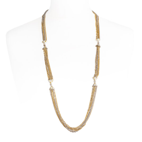 d'Avossa Necklace in White and Yellow Gold, with White and Fancy Yellow Diamonds