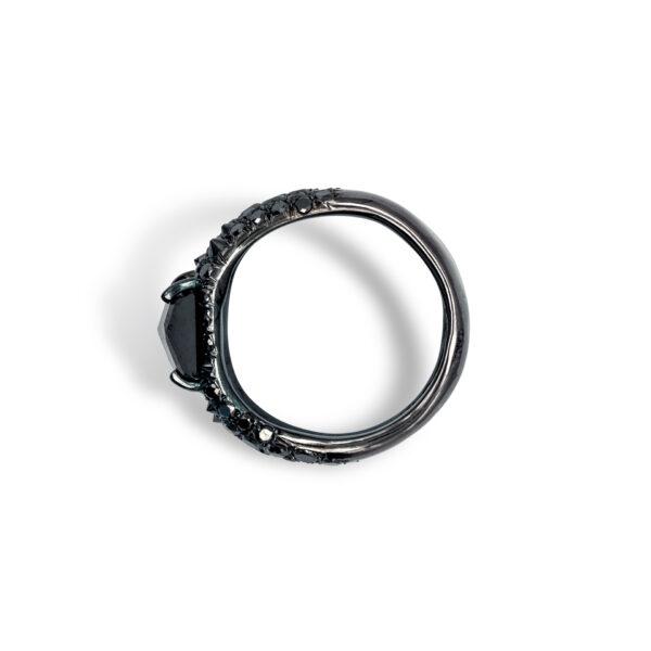 d'Avossa Ring in 18kt black gold with Black Diamonds