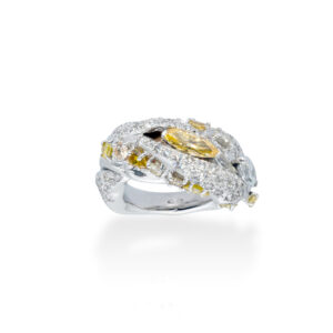 d'Avossa Ring in 18kt white gold with two central Diamonds marquise cut, Fancy yellow and White, on a pavé of white diamonds and two rows of Fancy Yellow diamonds. (6)
