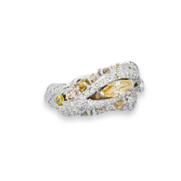 d'Avossa Ring in 18kt white gold with two central Diamonds marquise cut, Fancy yellow and White, on a pavé of white diamonds and two rows of Fancy Yellow diamonds. (1)