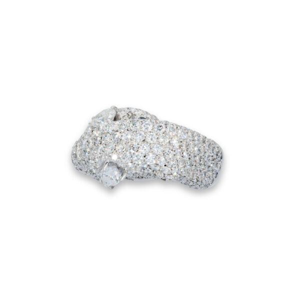 d'Avossa Ring in 18 Kt white gold with 4 central Diamonds, marquise and pear-shaped cut, enhanced by a pavé of White Diamonds.