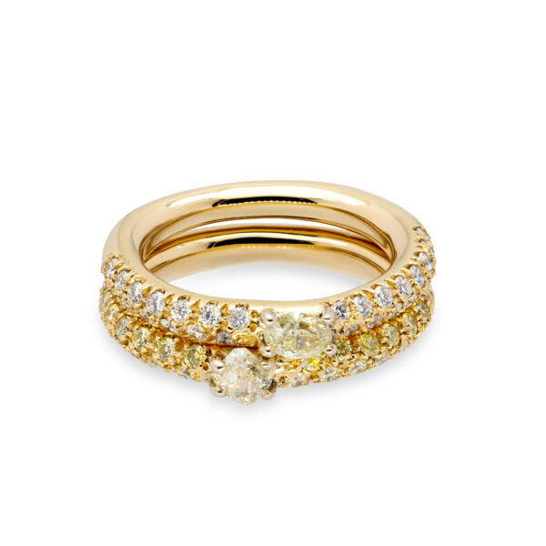 d'Avossa Ring in 18 kt yellow gold with central fancy natural diamonds on a pavé of fancy yellow natural diamonds (1)