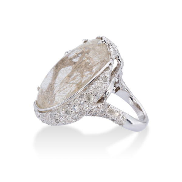 d'Avossa Ring in 18kt white gold with central Rutilated Quartz and Diamonds