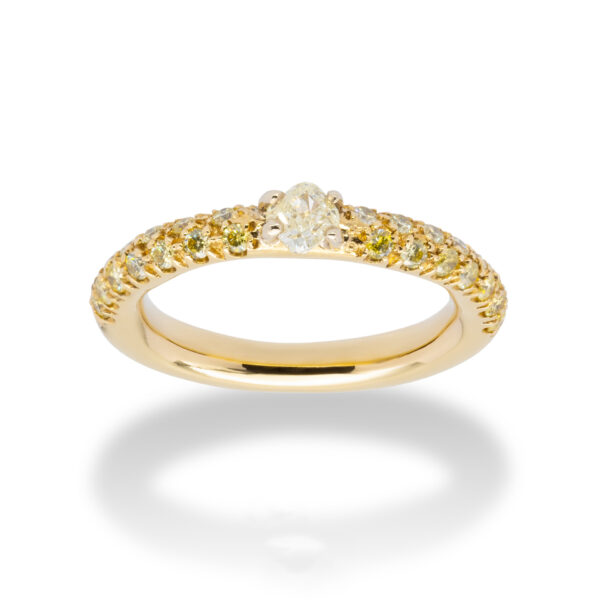 d'Avossa Ring 18kt yellow gold with a pavé of fancy yellow natural diamonds and a central fancy natural diamond (4)