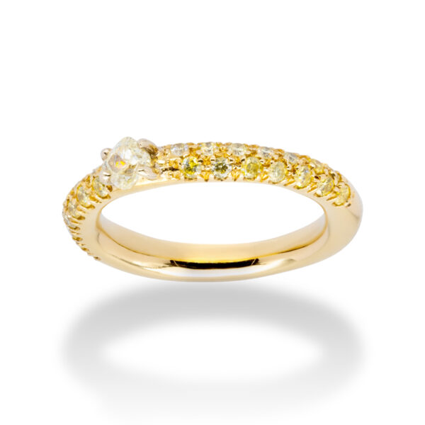 d'Avossa Ring 18kt yellow gold with a pavé of fancy yellow natural diamonds and a central fancy natural diamond (2)