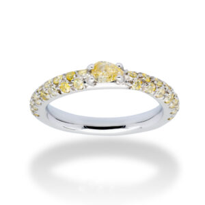 d'Avossa Ring 18kt white gold with a pavé of fancy yellow natural diamonds and a central fancy natural pear shape diamond (1)