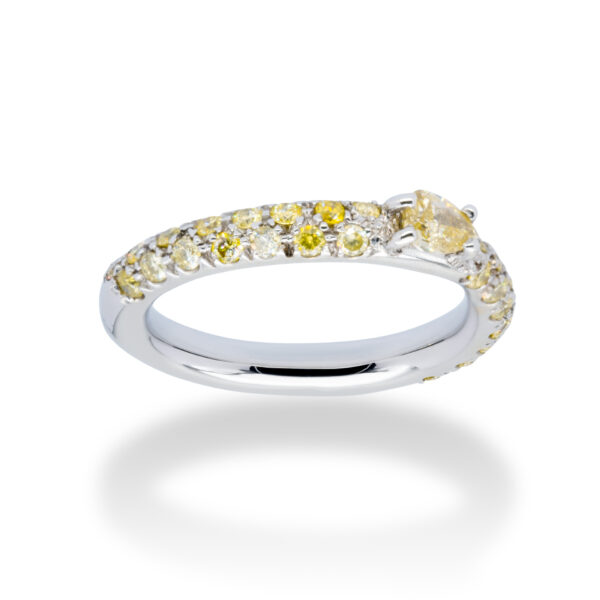 d'Avossa Ring 18kt white gold with a pavé of fancy yellow natural diamonds and a central fancy natural pear shape diamond (3)