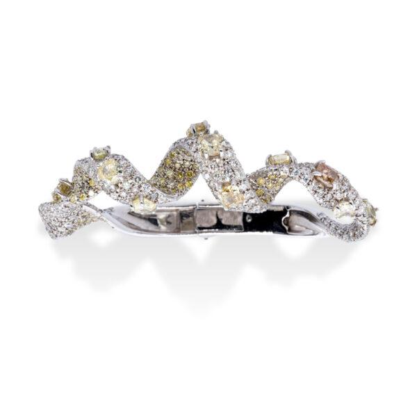 d'Avossa Bracelet, 18kt White Gold, with Fancy and White Diamonds