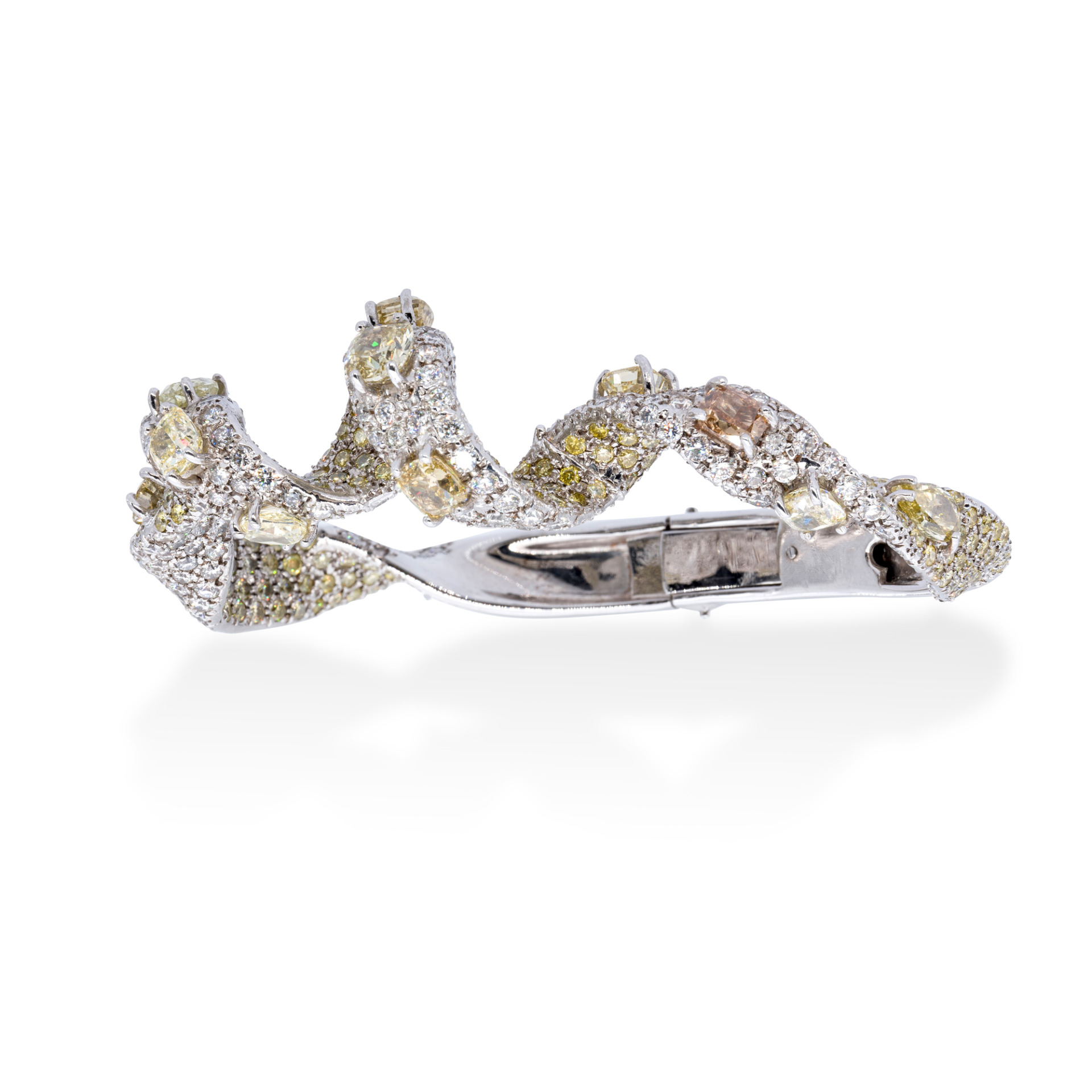 d'Avossa Bracelet, 18kt White Gold, with Fancy and White Diamonds
