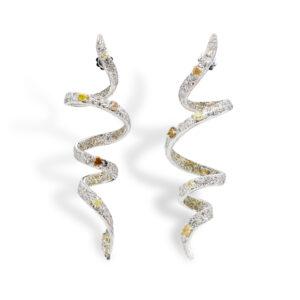 d'Avossa Earrings, 18kt White Gold, with Fancy and White Diamonds
