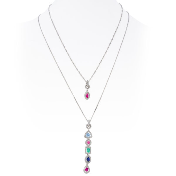 d'Avossa Pendants with White Diamonds and Precious Stones