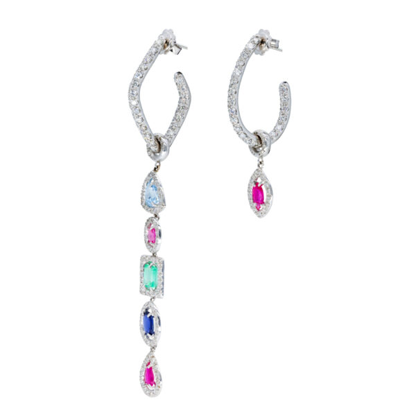 d'Avossa Earrings with White Diamonds and Precious Stones