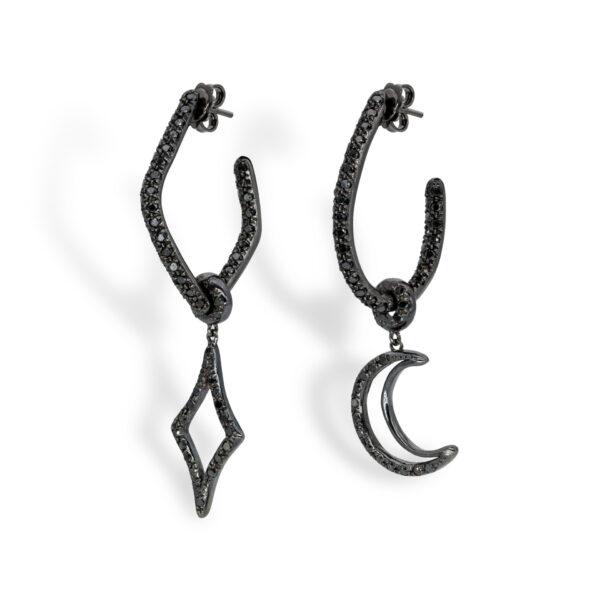 d'Avossa Earrings, 18kt black gold, with Black Diamonds