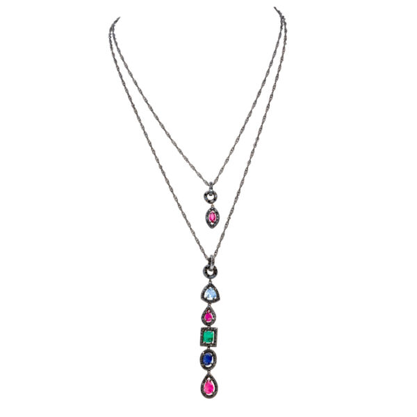 d'Avossa Pendants in Precious Stones and Black Diamonds