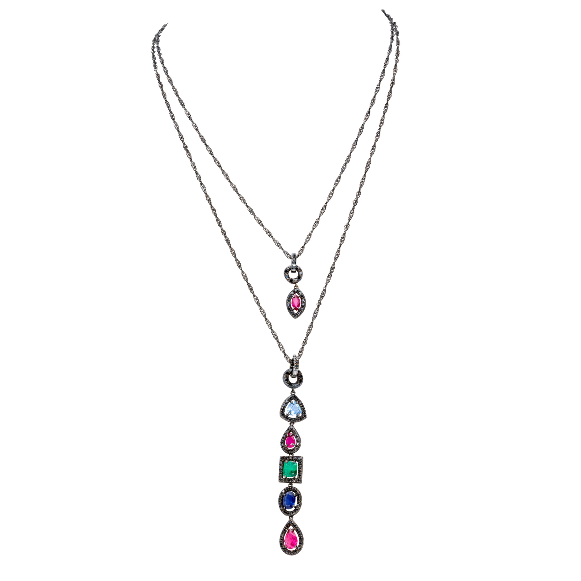 d'Avossa Pendants in Precious Stones and Black Diamonds