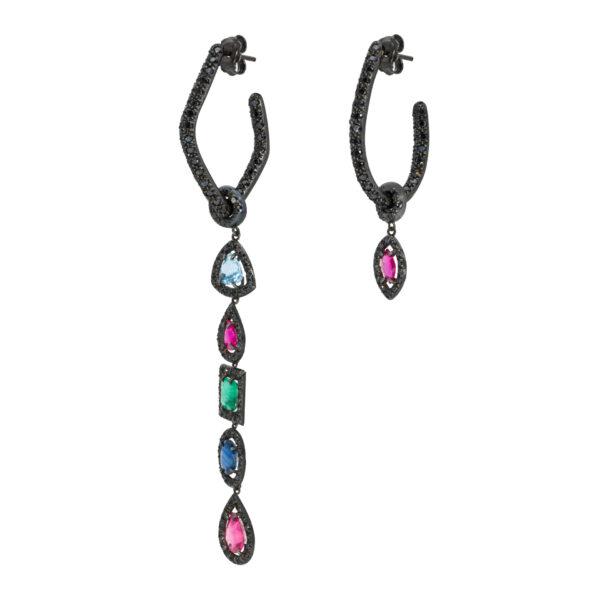 d'Avossa Earrings, Precious Stones Pendants and Black Diamonds
