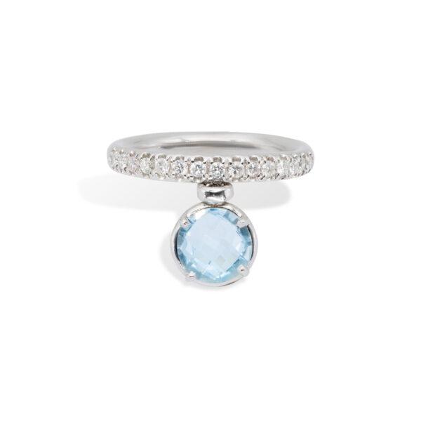 Blue Topaz and White Diamonds d'Avossa Ring (1)