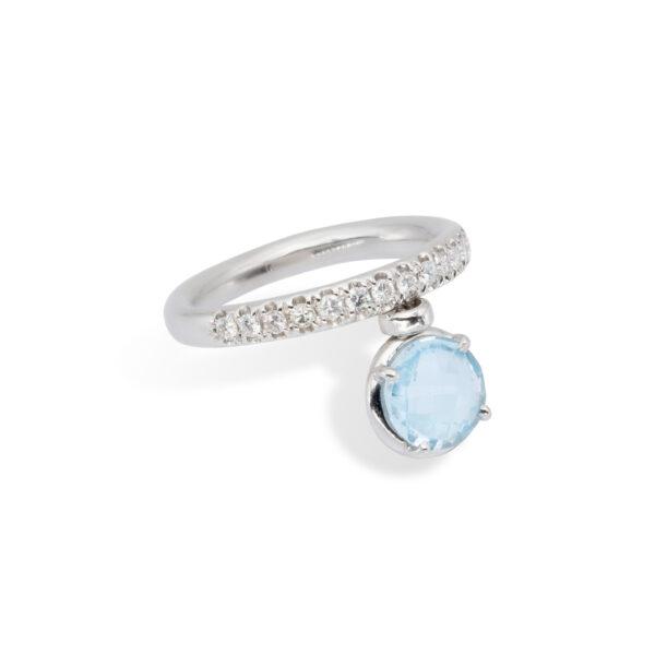 Blue Topaz and White Diamonds d'Avossa Ring (2)