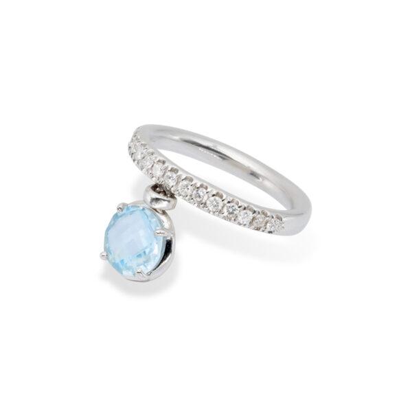 Blue Topaz and White Diamonds d'Avossa Ring(3)