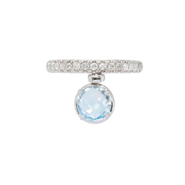Blue Topaz and White Diamonds d'Avossa Ring(4)