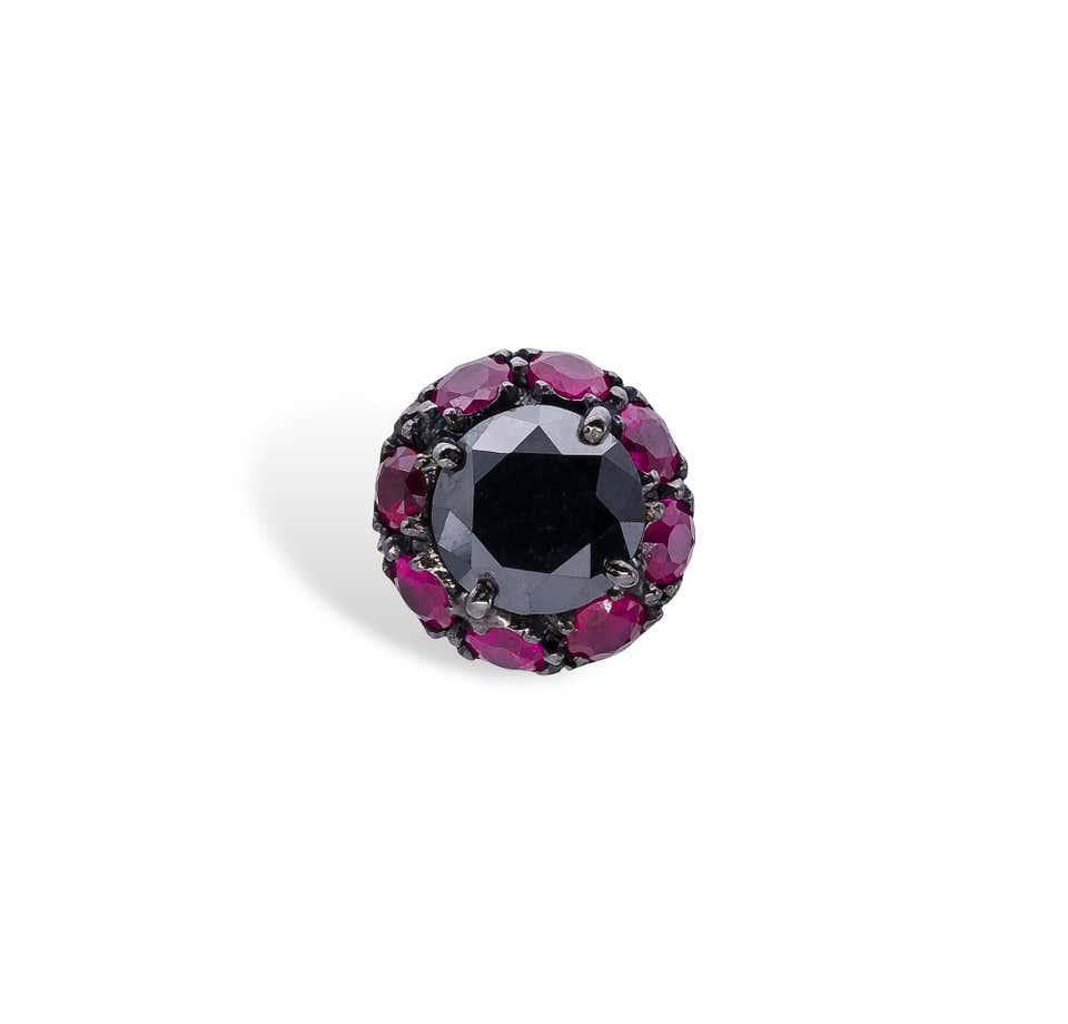 Black Diamonds and Rubies d'Avossa Earrings 1