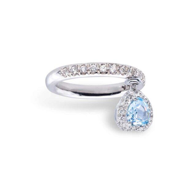 Aquamarine and white Diamonds d'Avossa Ring