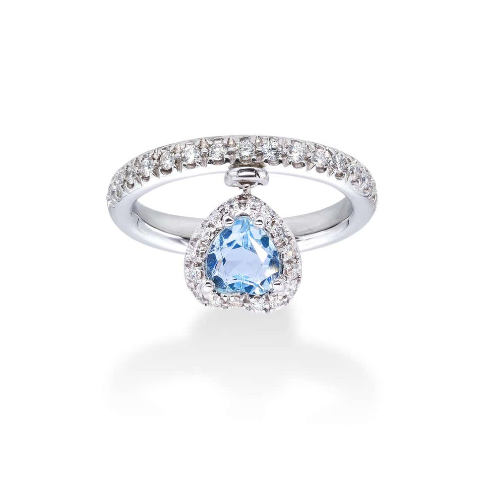 Aquamarine and white Diamonds d'Avossa Ring