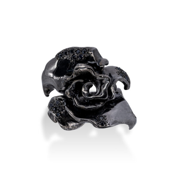d'Avossa Ring in Black Silver with Black Sapphires 1L