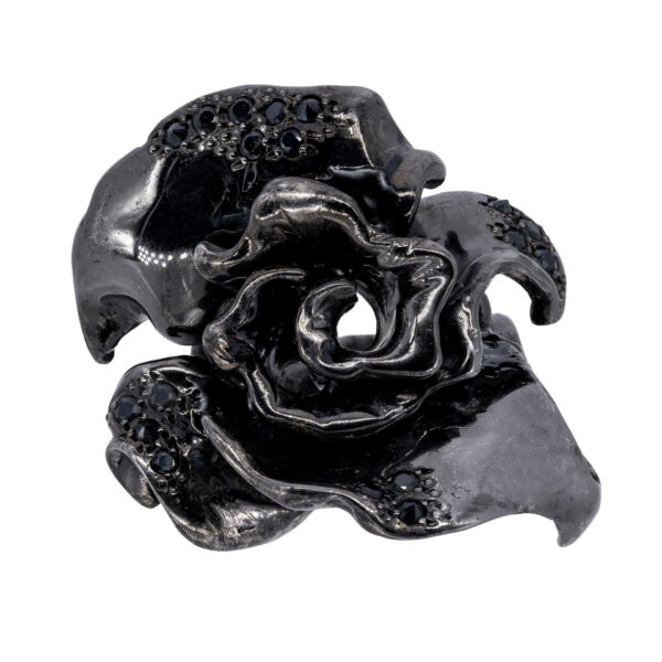 d'Avossa Ring in Black Silver with Black Sapphires 2L