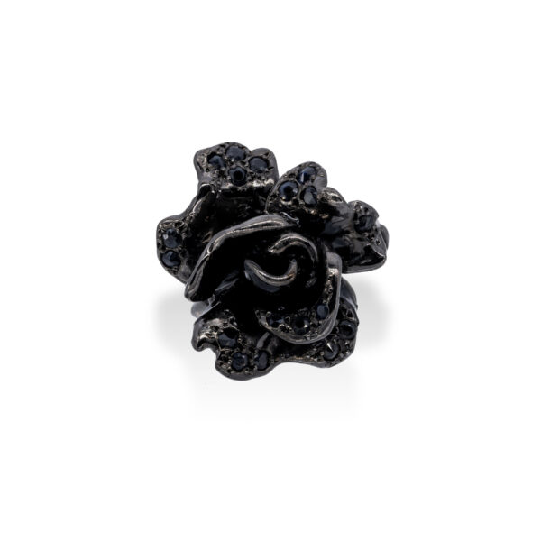 d'Avossa Ring in Black Silver with Black Sapphires 1s