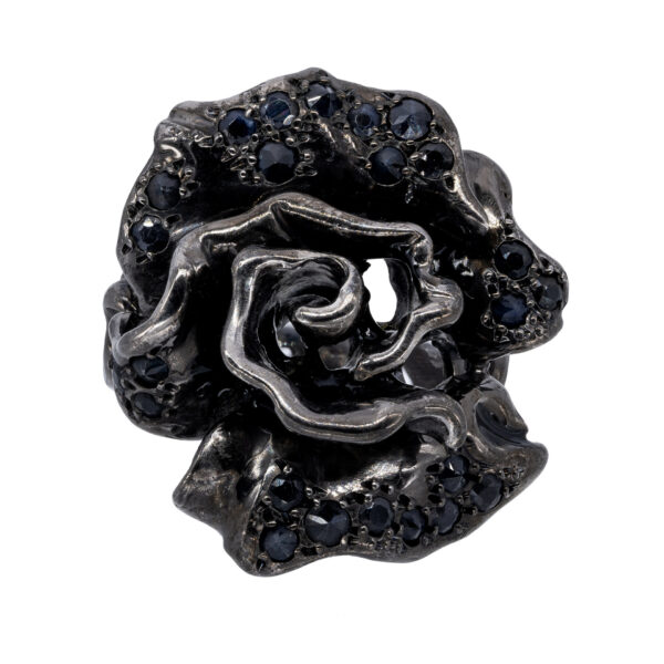 d'Avossa Ring in Black Silver with Black Sapphires 2m