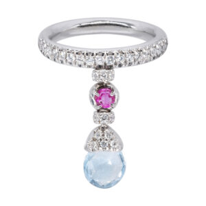 d'Avossa Ring with blue topaz, pink Sapphire, white Diamonds (2)