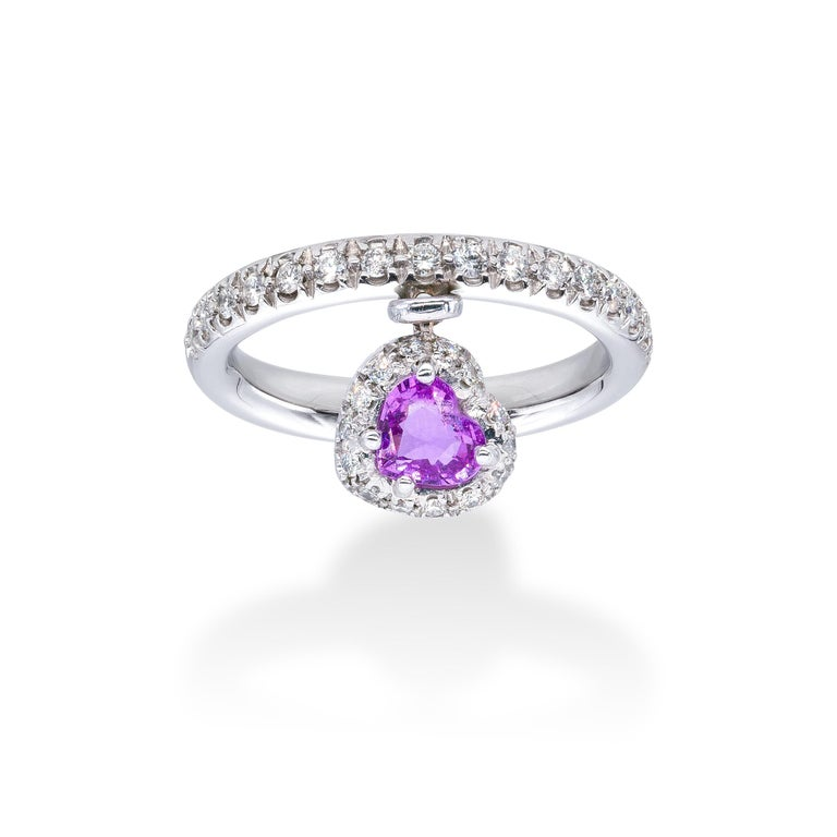 Pink Sapphire and white Diamonds d'Avossa Ring