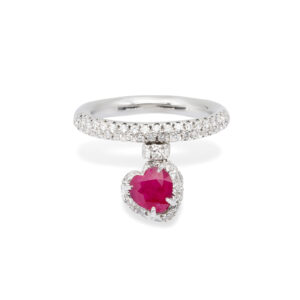Ruby and white Diamonds d'Avossa Ring