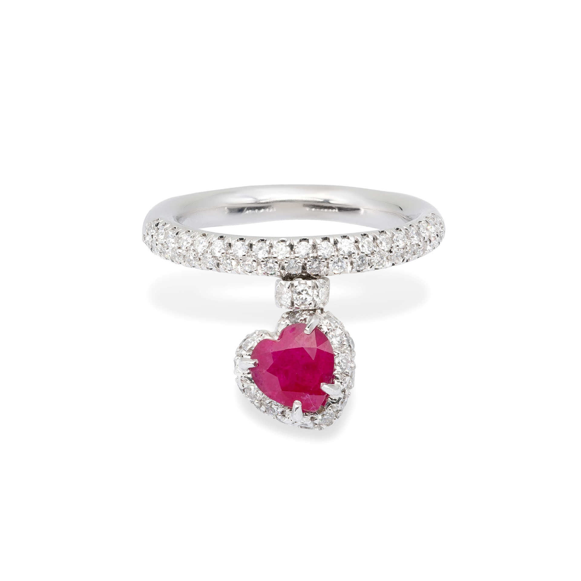 Ruby and white Diamonds d'Avossa Ring