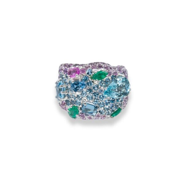 d'Avossa Ring in 18kt white gold with Emeralds, Aquamarines and Sapphires (5)