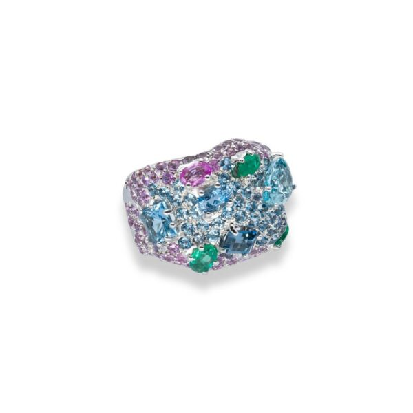 d'Avossa Ring in 18kt white gold with Emeralds, Aquamarines and Sapphires (6)