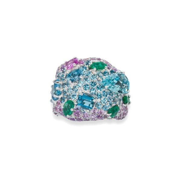 d'Avossa Ring in 18kt white gold with Emeralds, Aquamarines and Sapphires (2)
